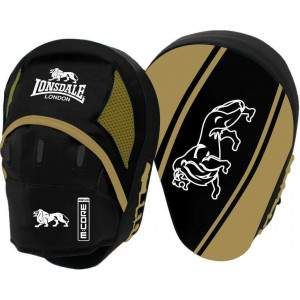 Lonsdale Club Curved Hook & Jab Pads Black/Gold by Podium 4 Sport
