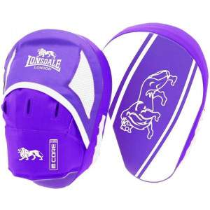 Lonsdale Club Curved Hook & Jab Pads Purple/White by Podium 4 Sport