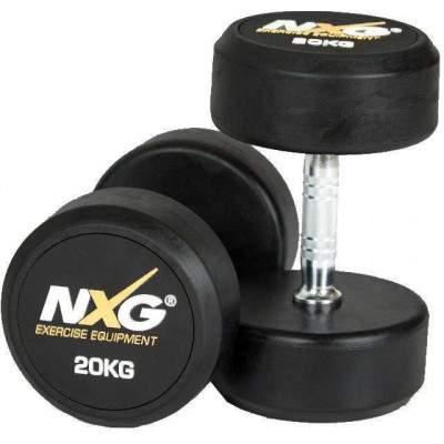 NXG Rubber Dumbbell Pair 20kg by Podium 4 Sport