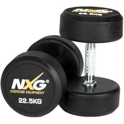 NXG Rubber Dumbbell Pair 22.5kg by Podium 4 Sport